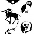 Art animal silhouettes collection for design — Stock vektor