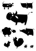 Art farm animal silhouettes — Stock Vector