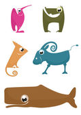 Cartoon funny animals set — Stock Vector