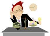 Businessman, ideas and money — Stock Vector