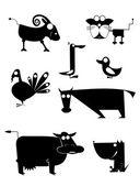 Comic farm animals — Vettoriale Stock