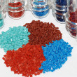 Dyed polymer resin in laboratory - Stock Photo