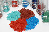 Dyed polymer resin in laboratory — Stock Photo