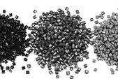 3 heaps of gray polymer — Stock Photo