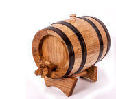Wine barrel with legs and cork on top — Stock Photo