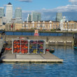 Canary Wharf and Shadwell Basin's water sports, E London, UK - Stock Photo