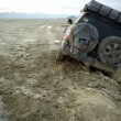 4x4 stuck in the mud in Nevada desert, US - Stock Photo