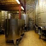 Steel wine vats in organic winery cellar, Priorat (aka Priorato), Spain — Stock Photo #18143759