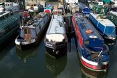 Narrow boats moored in Limehouse Basin, London, UK — Stock Photo