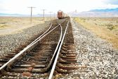 Approaching freight train on tracks, NW Nevada, US — Stock Photo