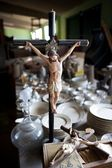 Jesus on the cross statuettes relegated to a thrift store — Stock Photo