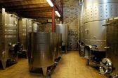 Steel wine vats in organic winery cellar, Priorat (aka Priorato), Spain — Stock Photo