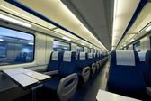 Inside of an empty passenger train car — Stockfoto