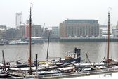 Butler's Wharf and Hermitage Community Moorings in the snow, London, UK — Stock Photo