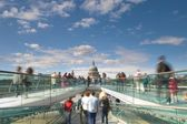 St Paul's Cathedral from the London Millennium Footbridge, London, UK — Stock Photo