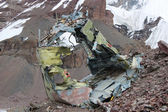 Soviet helicopter crash in Kyrgyz Khan Tengri base camp — Stock Photo