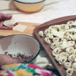 Pelmeni - traditional russian dish — Stock Photo
