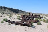 The ships in desert — Stock Photo