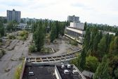 Chernobyl area. Lost city Pripyat. Modern ruins. — Stock Photo