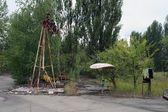 Abandoned ferris wheel in amusement park in Pripyat, Chernobyl area — Stock Photo