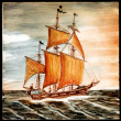 Stock Photo: Original old oil painting of sail ship and sea