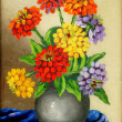 Stock Photo: Oil paints on canvas: bouquet of flowers in clay vase