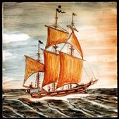 Original old oil painting of sail ship and sea — Stock Photo