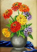 Oil paints on a canvas: a bouquet of flowers in a clay vase — Stock Photo