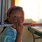 Mongolian girl in train to Ulaanbaatar — Stock Photo #22670749