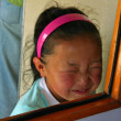 Mongolian girl in train to Ulaanbaatar — Stock Photo