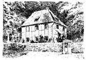 Vieux croquis de maison — Vecteur