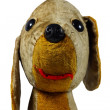 Old plush dog toy on white background — Stock Photo