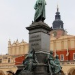 Monument of Adam Mickiewicz at Main Market at Krakow - Stok fotoğraf