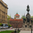 Barbakan in Cracow  Matejko Square ,  Poland - Stock Photo