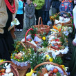 Blessing of food baskets at the church on easter (polish countryside). — Stock Photo