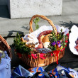 Traditional Easter basket with food in Polish countryside — Stock Photo