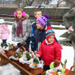 Blessing of food baskets at the church on easter (polish countryside). — Foto de Stock