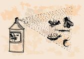 Insecticide is killing pests retro design — Stockvektor