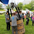 Hot air balloon inflating for launch - airshow cracow 2013 — 图库照片
