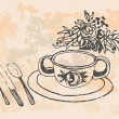 Cup of teHand drawn illustration — Stok Vektör #28875967
