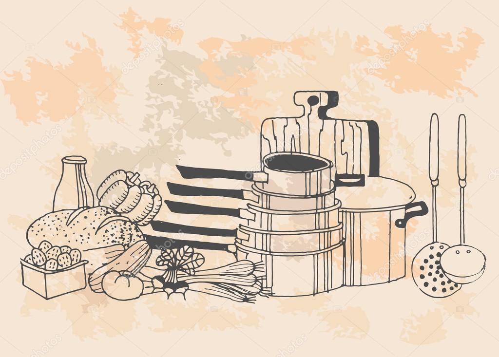 Art culos de cocina en estilo vintage vector de stock for Accesorios de cocina vintage
