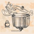 Stock Vector: Retro cooking pot