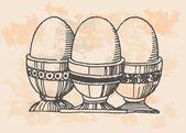 Retro huevos en cocina — Vector de stock