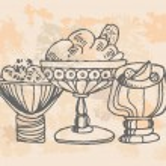 Ice cream set Hand drawn illustrations — Stock Vector