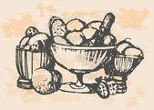 Fruits and vegetables, retro style — Vettoriale Stock