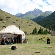 Yurt camp in central Asia — Stock Photo