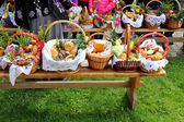 Traditional Easter basket with food — Stock Photo
