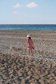 Fille avec un chien marchant sur la plage — Photo