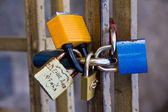 Padlocks on fence in Prague, symbol of love — Foto de Stock