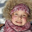 Cute little girl in winter near wood — Stock Photo